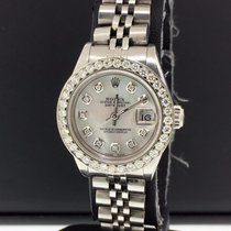 Rolex Oyster Perpetual Lady Date Stal 26mm Masa perłowa Bez cyfr