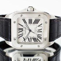 Cartier Santos 100 Stal 38mm Biały Rzymskie