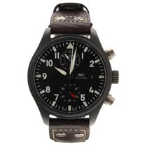IWC Pilot Chronograph Top Gun pre-owned 44mm Black Chronograph Leather