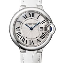 Cartier Ballon Bleu 33mm Stainless Steel White Leather Strap
