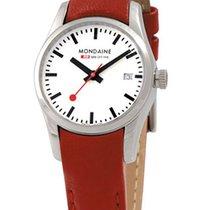 Mondaine RETRO 28mm Quartz White Dial Red Leather Strap +BONUS...