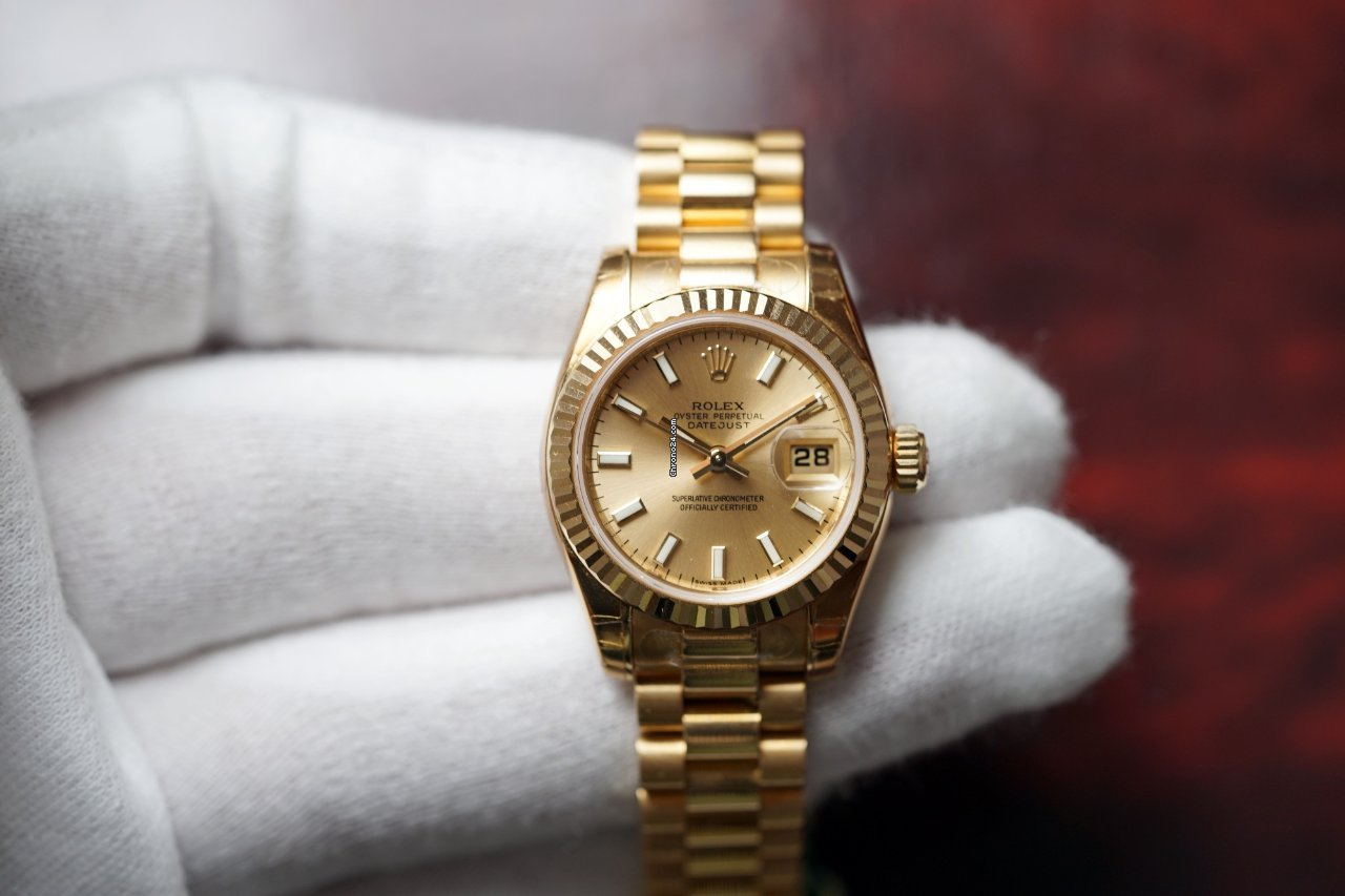 Rolex 18K Yellow Gold Lady Datejust 26 President 179178 NEW