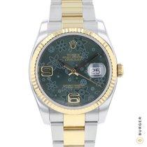 Rolex Datejust Gold/Stahl 36mm Grün Arabisch
