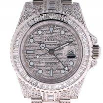 Rolex GMT Master II Full Diamond 33ct Stahl Weißgold Automatik...