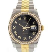 Rolex Datejust SS & 18K Yellow Gold Factory Diamond Bezel 116243