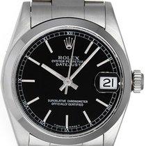 Rolex Datejust Midsize Men's or Ladies Steel Watch 68240 Black...