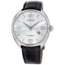 Fendimatic Silver Dial Leather Strap Men's Watch F200016061