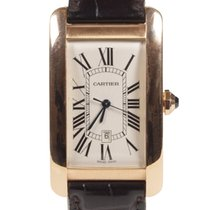 Cartier Rose gold Automatic Silver Roman numerals pre-owned Tank Américaine