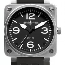 Bell & Ross BR 01-92 nuevo Automático Reloj con estuche y documentos originales BR0192-BL-ST