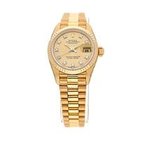 Rolex Yellow gold Automatic Champagne No numerals 26mm pre-owned Lady-Datejust