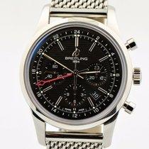 Breitling Transocean Chronograph GMT Stahl 43mm Schwarz