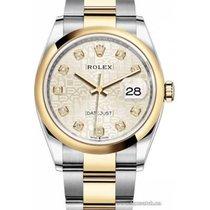 Rolex Datejust Gold/Stahl 36mm Silber Keine Ziffern