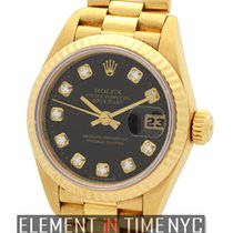 Rolex Datejust President Ladies 18k Yellow Gold Black Diamond...