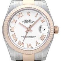 Rolex Datejust 31 Edelstahl Everose Oyster-Band Weiß R