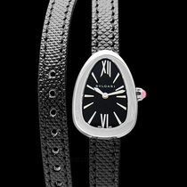 Bulgari Steel Quartz Black 27mm new Serpenti