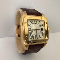 Cartier Santos 100 Żółte złoto 38mm Biały Rzymskie