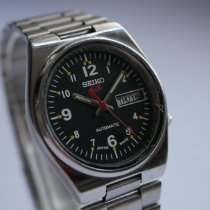 Seiko 5 Sports Steel 36mm Black Arabic numerals