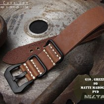 MiLTAT 22mm Grezzo ZULU Band, Brown, PVD