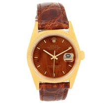 Rolex Datejust 18k Yellow Gold Wood Dial Vintage Mens Watch 16018