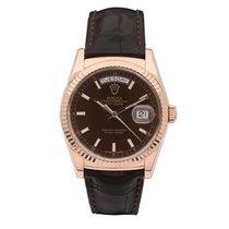 Rolex Or rose Remontage automatique Brun Sans chiffres 36mm occasion Day-Date