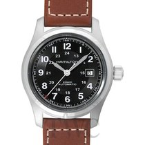ハミルトン (Hamilton) Khaki Field Auto 42mm Black Steel/Leather -...