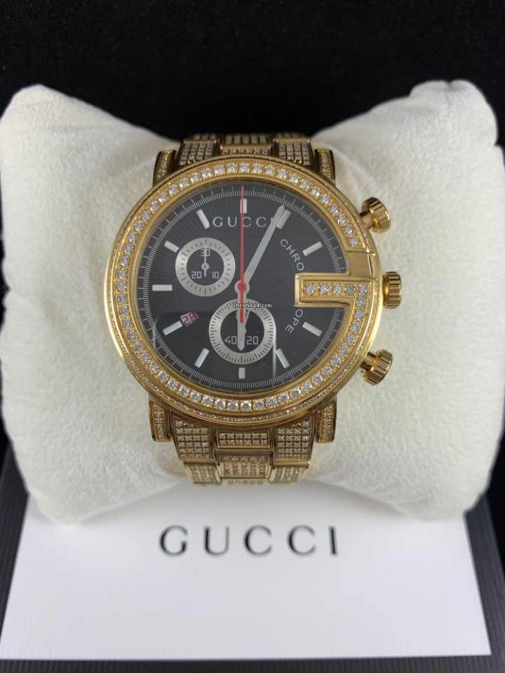 Gucci G,Chrono Fully Icedout 6.00ct of Genuine Diamonds