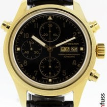 IWC Yellow gold Automatic Black 42mm pre-owned Pilot Double Chronograph