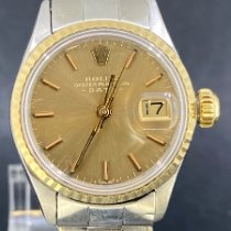 Rolex Oyster Perpetual Lady Date Or/Acier 26mm Champagne Sans chiffres