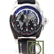 Breitling Galactic Unitime 44mm Black Dial Leather Strap NEW