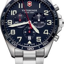 Victorinox Swiss Army Steel 42mm Quartz 241857 Victorinox Fieldforce 42mm Acciaio Blu Crono new