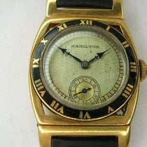 "Hamilton Yellow gold 28mm Manual winding r324a Hamilton ""Piping Rock "" pre-owned"