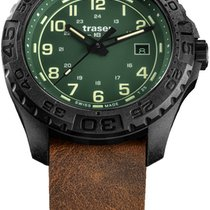 Traser 44mm Cuarzo P96 OdP Evolution Green, Leder-Natoband mens watch nuevo