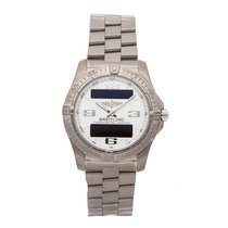 Breitling Aerospace Avantage pre-owned 42mm Silver Chronograph Perpetual calendar Alarm GMT Titanium