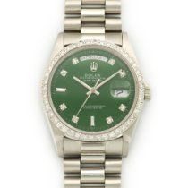 Rolex Platinum Day-Date Custom Green Diamond Watch Ref. 18206