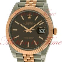 Rolex Datejust 41mm, Chocolate Dial, Rose Gold Fluted Bezel -...