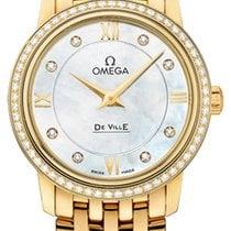 Omega Yellow gold Quartz Mother of pearl 27.4mm new De Ville Prestige