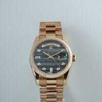 Rolex Day-Date 36 Or rose Gris Sans chiffres