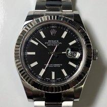 Rolex Datejust II Black Dial WG Fluted Bezel 41mm Stainless Steel