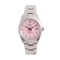 Rolex 34mm Stainless Steel Date - Pink Diamond Dial - Oyster Band