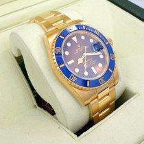 Rolex Submariner 116618 Lb 18k Yellow Gold Blue Ceramic Bezel B&p