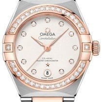 Omega new Automatic Center Seconds Gemstone Chronometer 29mm Gold/Steel Sapphire Glass
