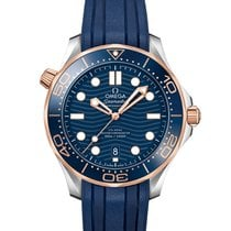 Omega Seamaster Diver 300 M Goud/Staal 42mm Blauw Geen cijfers