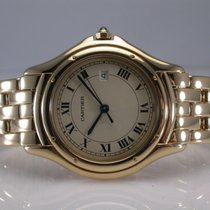 Cartier Cougar 33mm 18k Yellow Gold Quartz Watch Ivory Dial