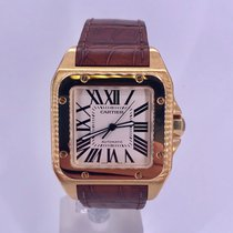 Cartier Santos 100 pre-owned 51mm White Crocodile skin