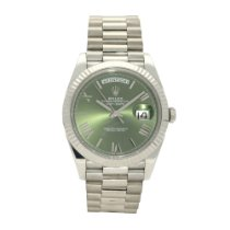 Rolex Day-Date 40 White gold 40mm Green Roman numerals United Kingdom, Liverpool