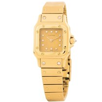 Cartier Yellow gold Automatic Champagne 23mm pre-owned Santos Galbée