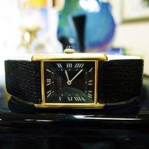 Cartier Must De Cartier Tank Vermeil Yellow Gold Black Roman...