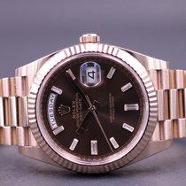 Rolex Day-Date 40 Rosa guld 40mm Brun Danmark, Greve