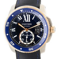 Cartier Calibre De Cartier 18k Rose Gold And Steel Blue...