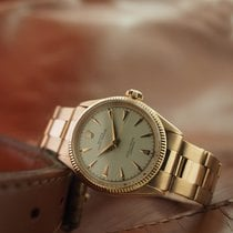 Rolex Rose gold Manual winding White No numerals 34mm pre-owned Oyster Perpetual